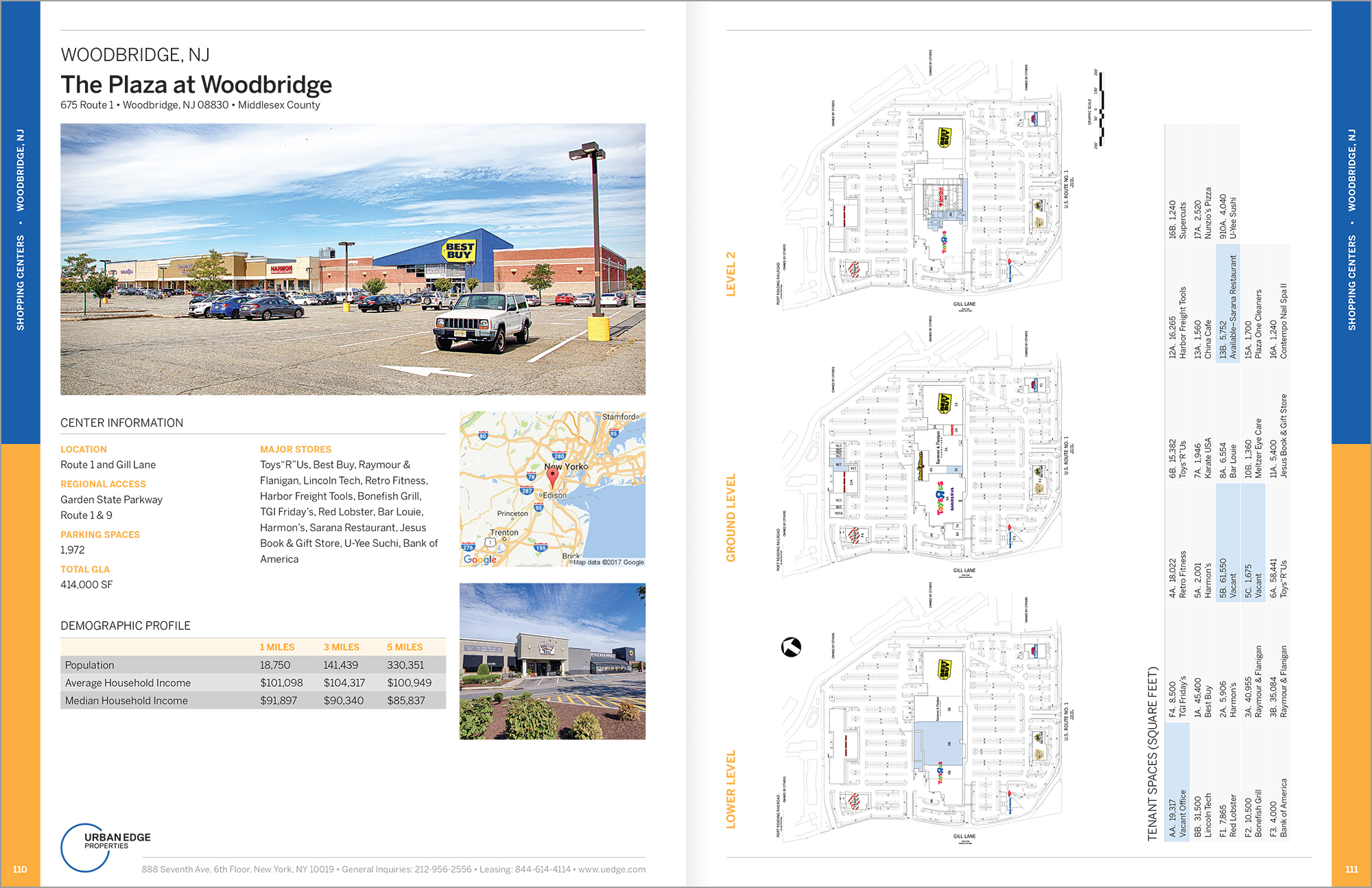 Sample page spread from the Urban Edge Properties Leasing Book